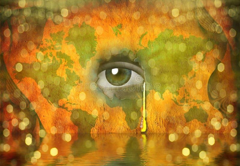 La larme a jeté pour le monde illustration de vecteur