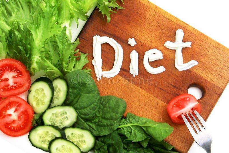 La lattuga frize, spinaci, pomodori, dieta di parola, scritta il mascarpone, panna acida forcella con il pomodoro della fetta Sim immagine stock