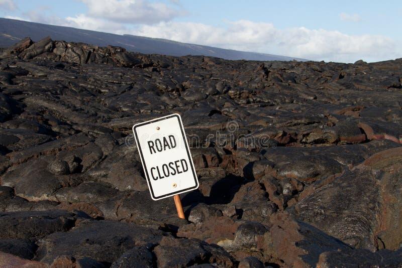 La lava bloqueó el camino fotos de archivo libres de regalías