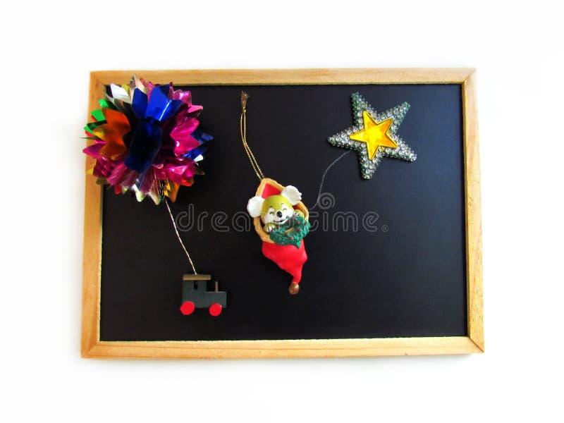 La lavagna è una struttura per mettere le decorazioni nel holida fotografia stock