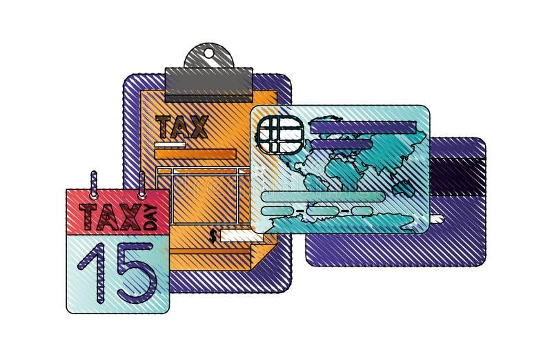 La lavagna per appunti accusa il calendario e la carta di credito illustrazione vettoriale