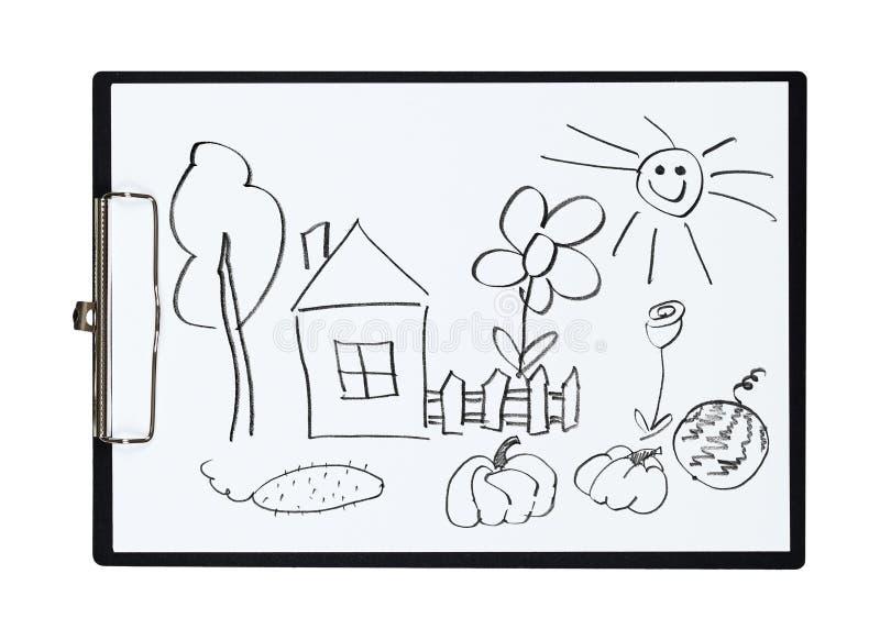 La lavagna per appunti e la carta rivestono con la casa for Concetto di piani per la casa
