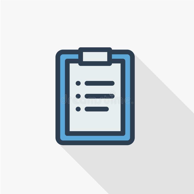 La lavagna per appunti, lista di da fare, progetta la linea sottile icona piana Progettazione lunga variopinta dell'ombra di simb illustrazione vettoriale