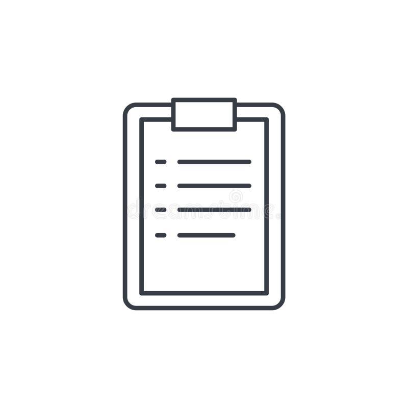 La lavagna per appunti, lista di da fare, progetta la linea sottile icona Simbolo lineare di vettore illustrazione vettoriale
