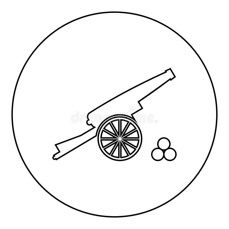 La leña medieval del cañón quita el corazón a color negro del icono en círculo redondo stock de ilustración