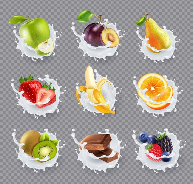 La leche de las frutas salpica el sistema realista stock de ilustración