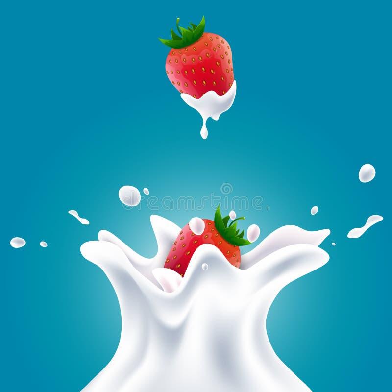 La leche realista del vector salpica con los arándanos y las fresas rojas libre illustration