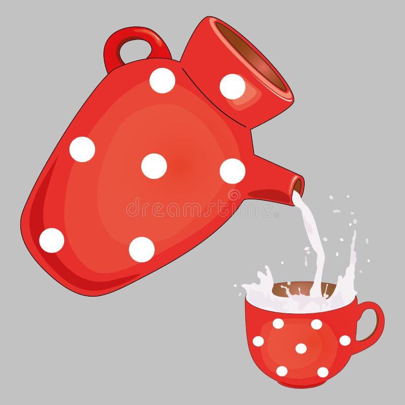 La leche vierte del jarro en la taza Diseñe la plantilla para la etiqueta, bandera, insignia, logotipo Vector Ilustración ilustración del vector