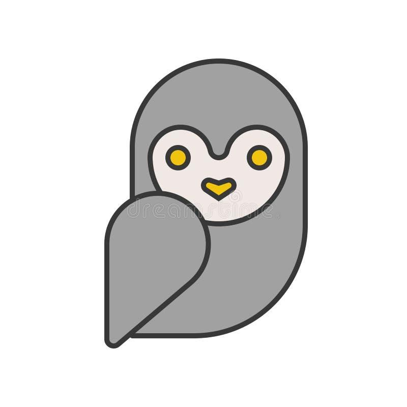 La lechuza común, Halloween relacionó el icono, diseño perfecto del pixel editable stock de ilustración