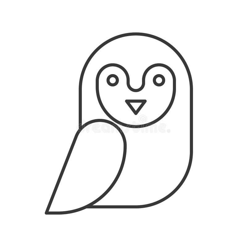 La lechuza común, Halloween relacionó el icono hueco del esquema, movimiento editable libre illustration