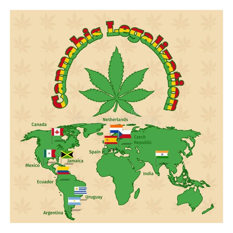 La legalización de la marijuana o los cáñamos legaliza ilustración del vector