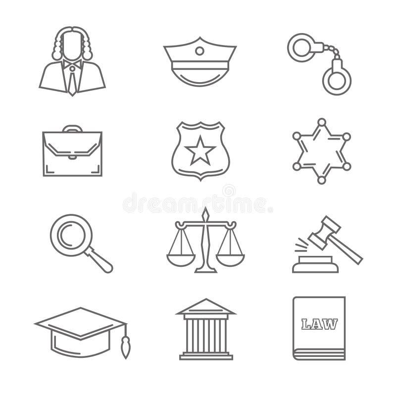 La legge e la giustizia della polizia criminale vector la linea sottile icone illustrazione vettoriale