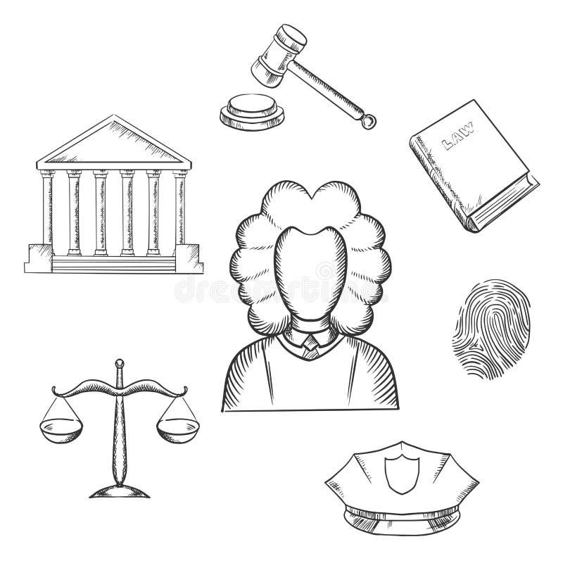 La legge, il giudice e la giustizia hanno schizzato le icone illustrazione di stock