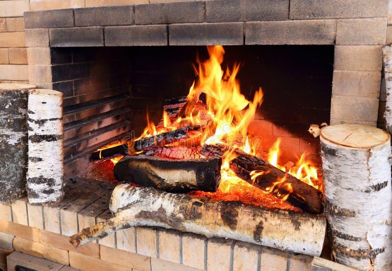 La legna da ardere brucia nella fornace domestica immagine stock libera da diritti