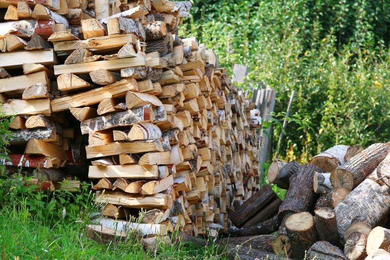 La legna da ardere tagliata asciutta collega il mucchio fotografia stock libera da diritti