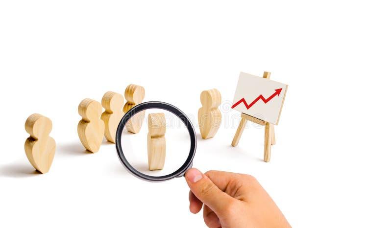 La lente d'ingrandimento sta esaminando le figure di legno del supporto della gente nella formazione ed ascolta il loro capo Adde immagine stock