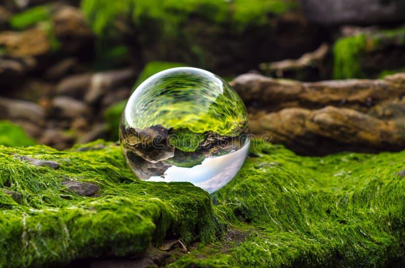 La lente della palla di vetro si trova sulle pietre coperte di fango e di reflec verdi immagine stock