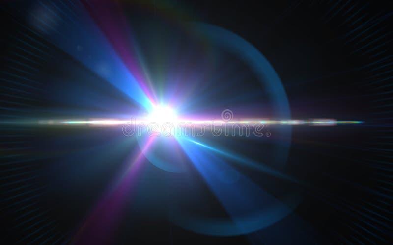 La lente digital abstracta señala por medio de luces los efectos luminosos especiales sobre negro imagenes de archivo