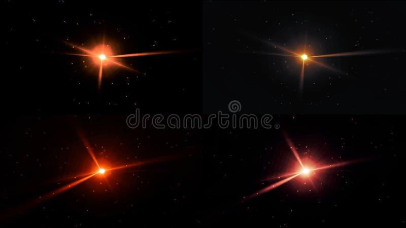 La lente ottica delle luci dei raggi della stella si svasa fondo brillante di arte di animazione Animazione delle luci della stel immagini stock