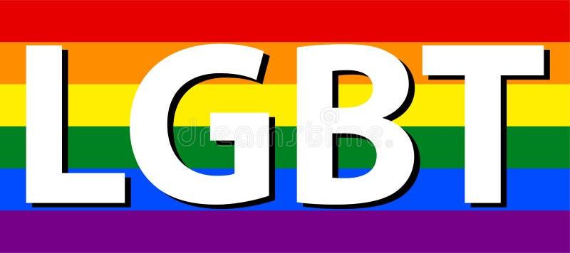 La lesbica, il gay, il bisessuale & il transessuale di LGBT mandano un sms al colore bianco in bandiera dell'arcobaleno illustrazione vettoriale
