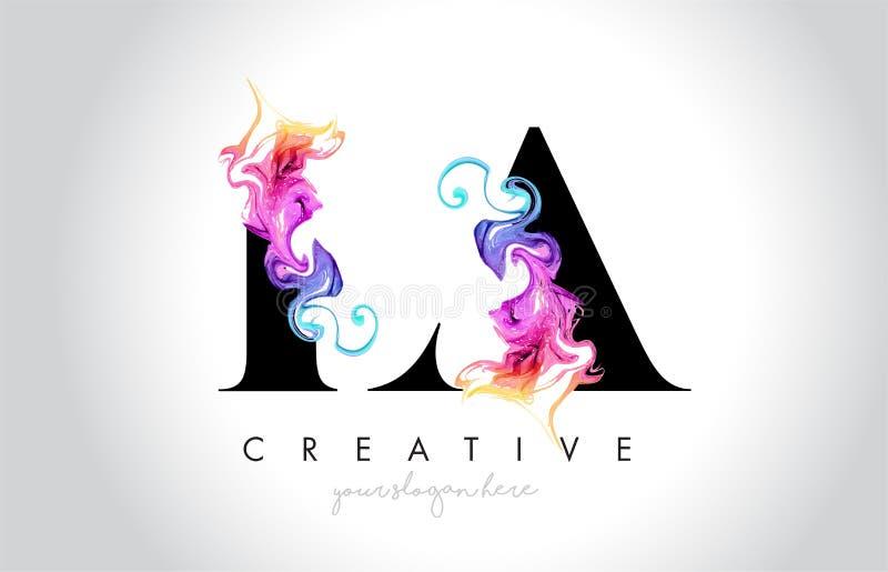 LA Leter créatif vibrant Logo Design avec l'encre colorée la Floride de fumée illustration stock