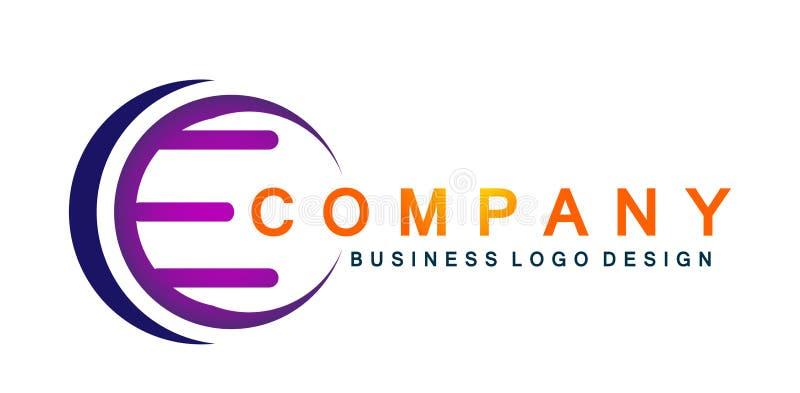 La letra abstracta E formó el icono del logotipo en vector del símbolo del círculo en el elemento para la compañía en el fondo bl libre illustration