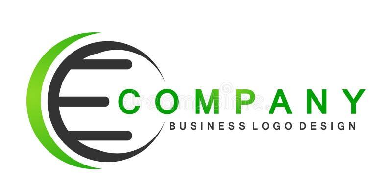 La letra abstracta E formó el icono del logotipo en vector del símbolo del círculo en el elemento para la compañía en el fondo bl ilustración del vector