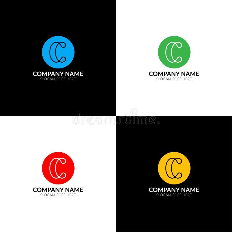 La letra C con las líneas logotipo, el plano del icono y el vector diseñan la plantilla La letra c en el logotipo del círculo par libre illustration