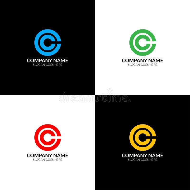 La letra c en logotipo del círculo, el plano del icono y el vector diseñan la plantilla El logotipo de la letra c para la marca o stock de ilustración
