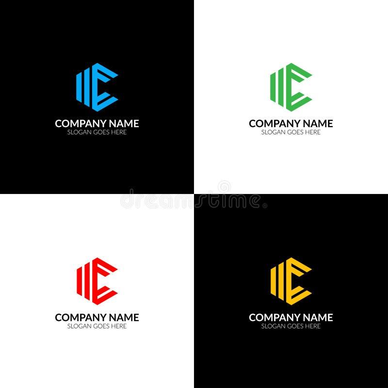 La letra c en logotipo del Rhombus, el plano del icono y el vector diseñan la plantilla El logotipo geométrico de la letra c para ilustración del vector