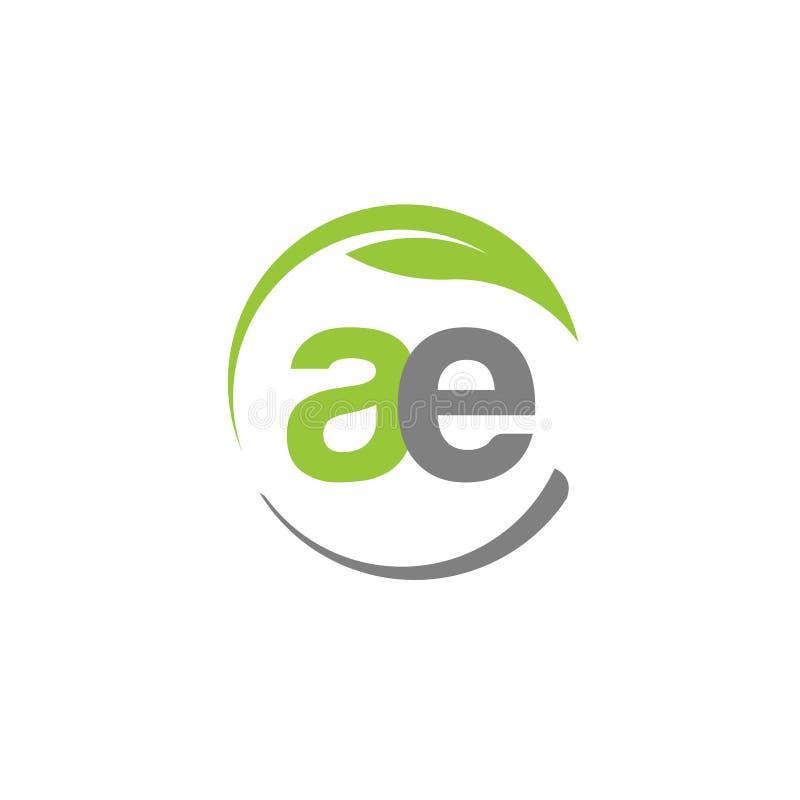 La letra creativa AE con el círculo pone verde el logotipo de la hoja stock de ilustración