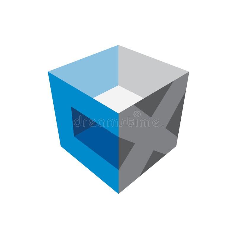 La letra CX cubica el logotipo de la caja 3D libre illustration