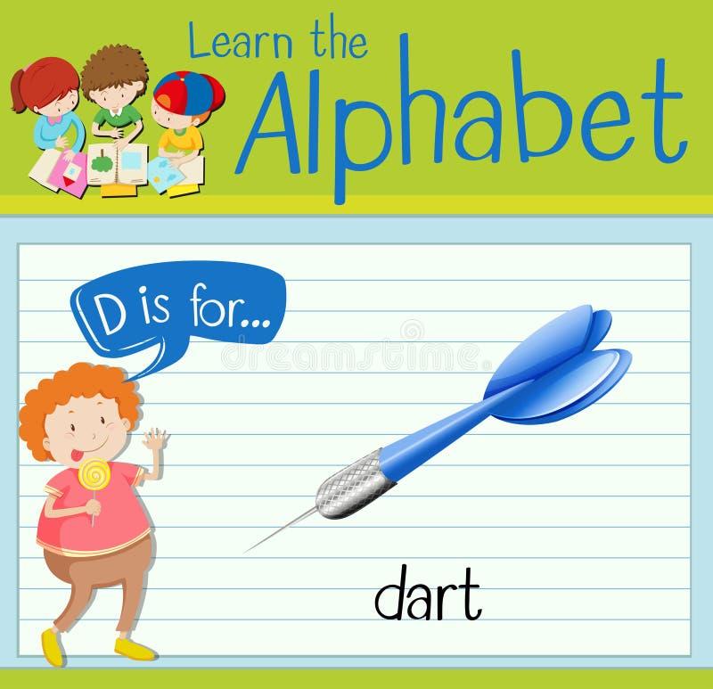 La letra D de Flashcard está para el dardo stock de ilustración