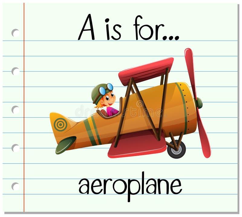 La letra A de Flashcard está para el avión stock de ilustración