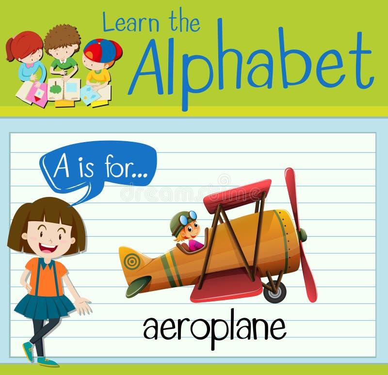 La letra A de Flashcard está para el avión libre illustration