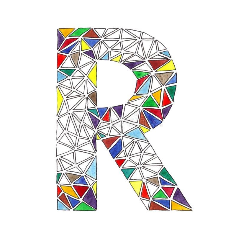 La letra de R en acuarela tejó el mosaico en estilo geométrico stock de ilustración