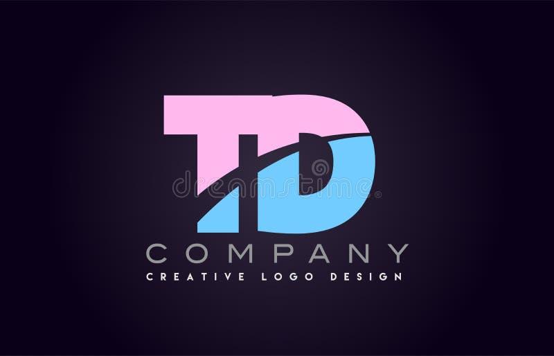 la letra del alfabeto de TD se une a diseño unido del logotipo de la letra libre illustration