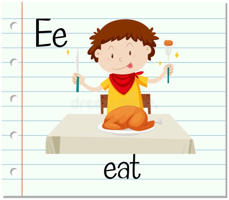 La letra E de Flashcard está para come ilustración del vector