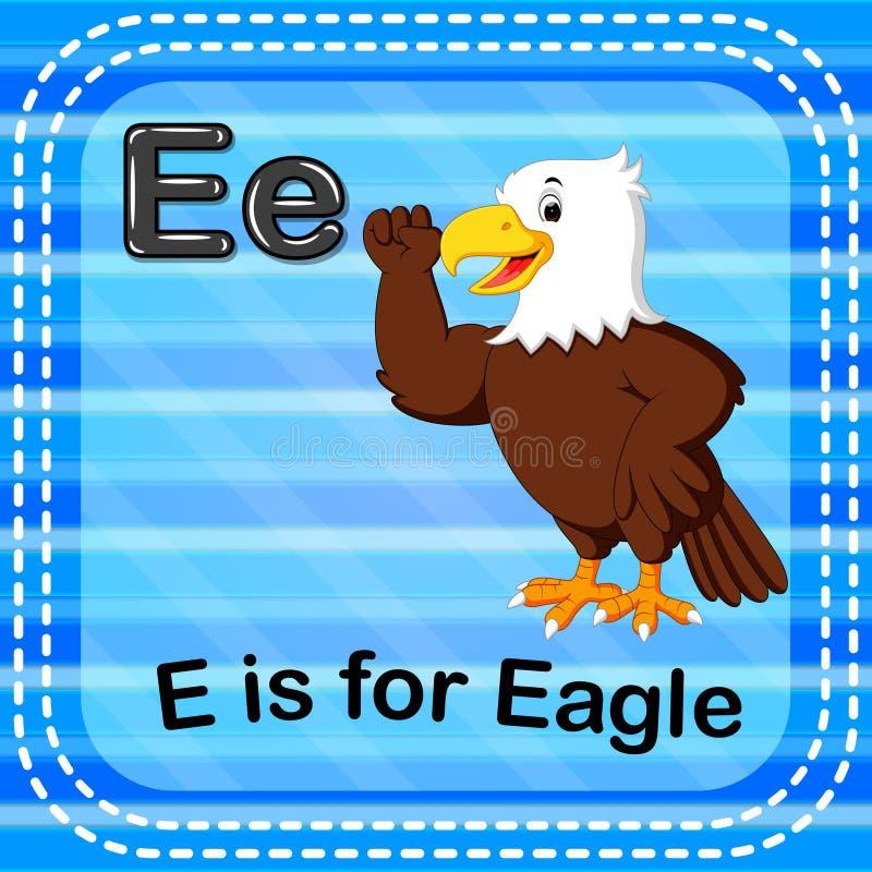 La letra E de Flashcard está para el águila stock de ilustración