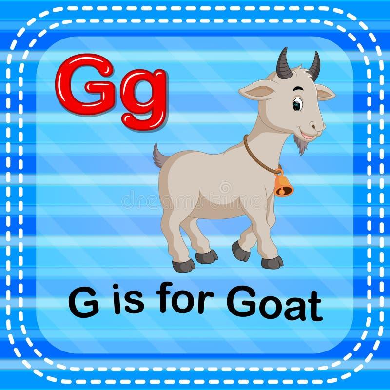 La letra G de Flashcard está para la cabra ilustración del vector