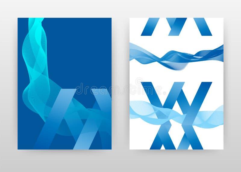 La letra geométrica de X con las líneas agitadas azules blancas diseña para el informe anual, folleto, aviador, cartel Líneas agi ilustración del vector