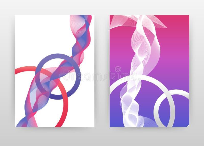 La letra geométrica de la ronda o con las líneas que agitan púrpuras magentas diseña el folleto, aviador, cartel Líneas que agita libre illustration