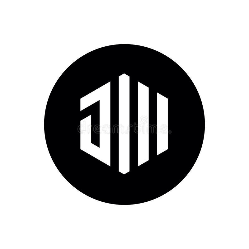 La letra inicial JW o JM, hexágono forma a Logo Icon, combinado con el círculo negro libre illustration