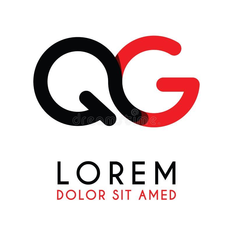 la letra inicial QG con negro rojo y tiene esquinas redondeadas stock de ilustración