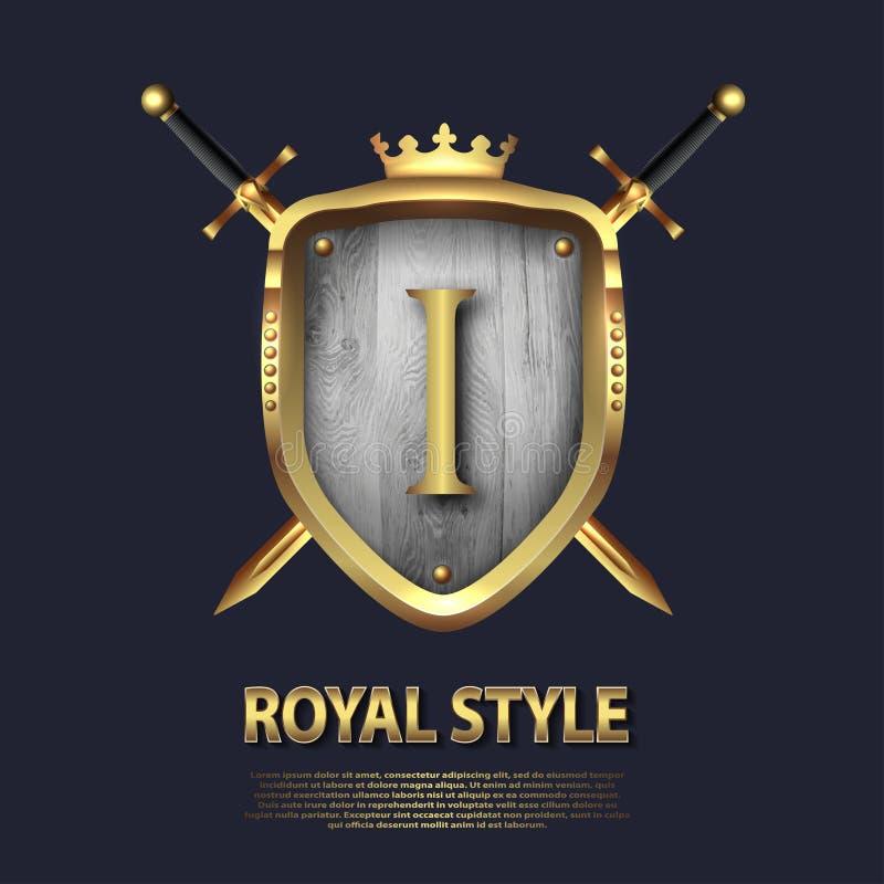 La letra J y dos cruzó las espadas y el escudo con la corona Dise?o de letra en el color oro para las aplicaciones como s?mbolo h ilustración del vector