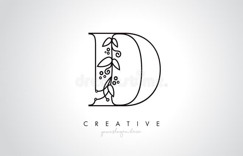 La letra Logo With Organic Monogram Plant de D hojea detalle y diseño del círculo Icono creativo de la letra libre illustration