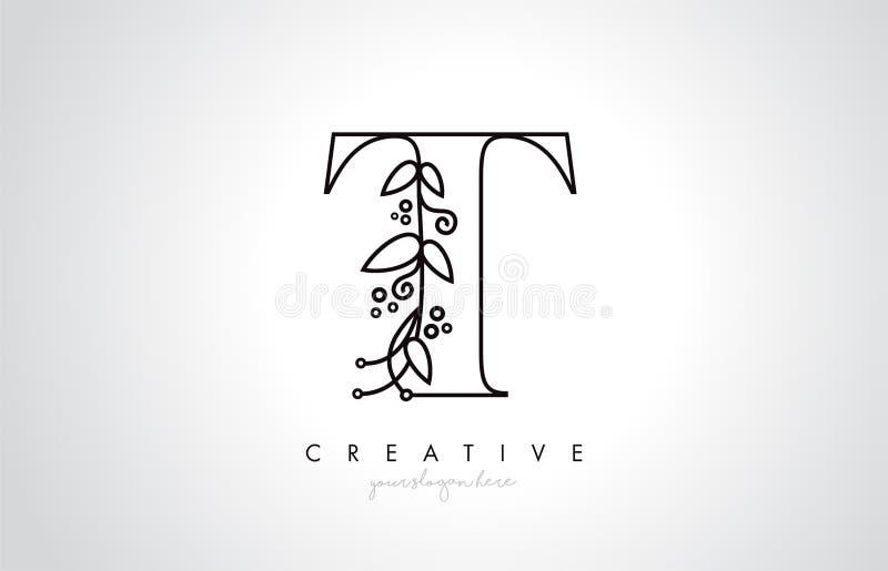 La letra Logo With Organic Monogram Plant de T hojea detalle y diseño del círculo Logotipo creativo del icono de la letra ilustración del vector