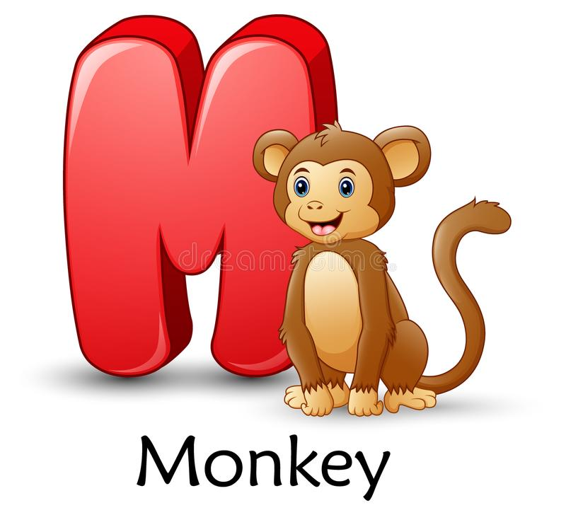 La letra M está para el alfabeto de la historieta del mono stock de ilustración