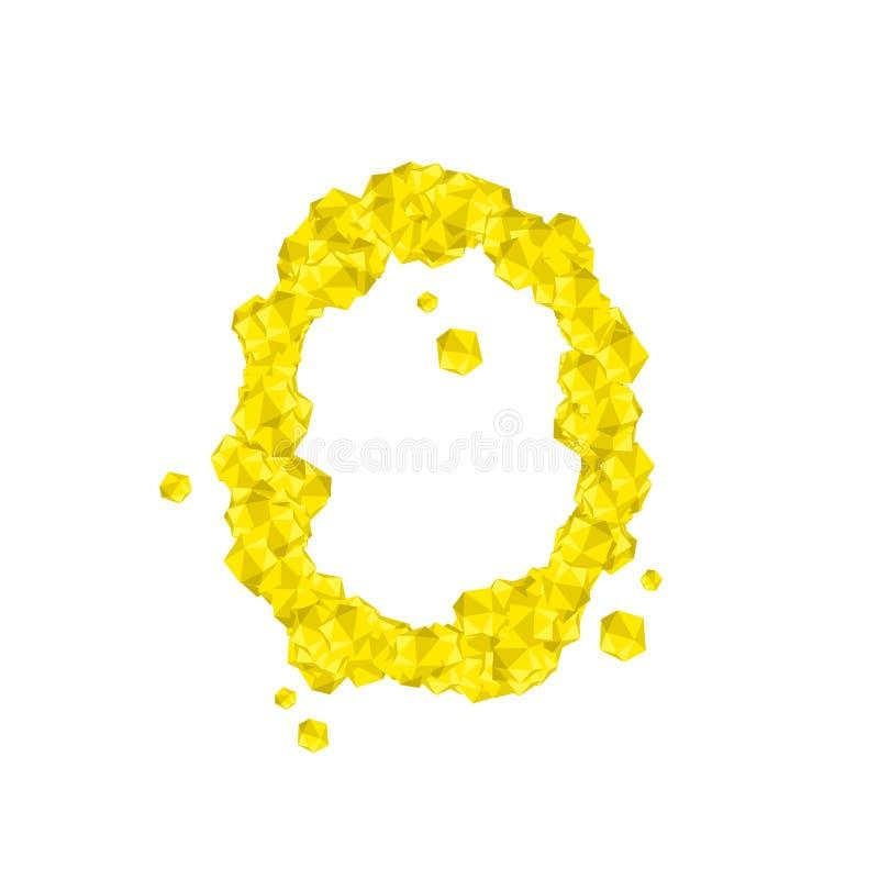 La letra número cero o 0, en el ejemplo virtual cristalino del sistema del diamante 3D del alfabeto libre illustration