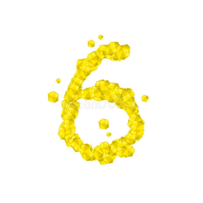 La letra número seis o 6, en el ejemplo virtual cristalino del sistema del diamante 3D del alfabeto libre illustration